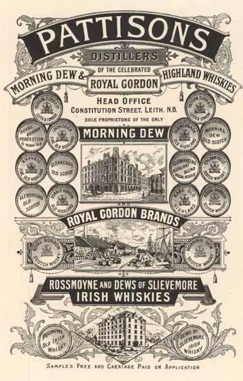 historie skotské whisky - Jedna z reklam bratří Pattisonů